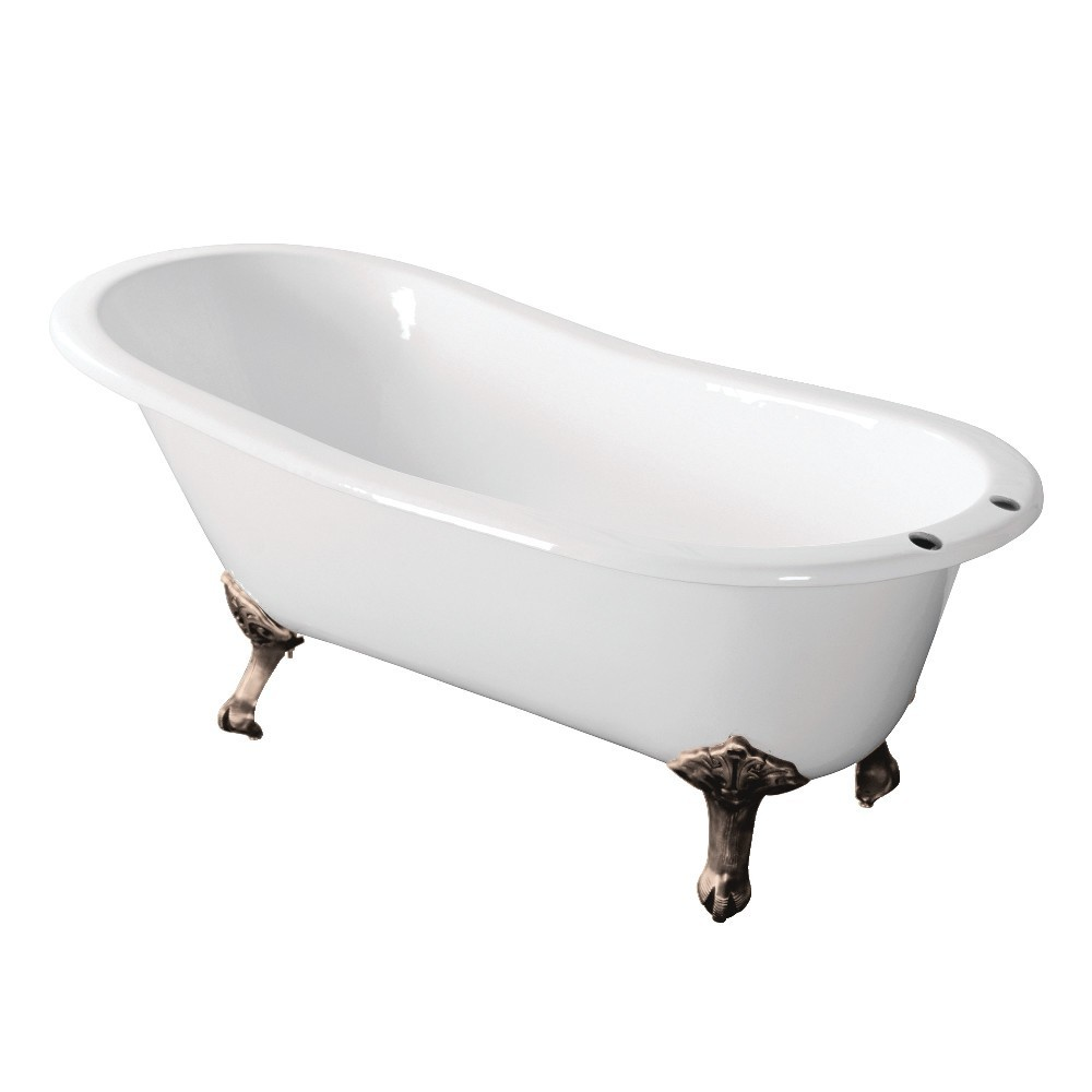Aqua Eden  67-Inch Cast Iron Single Slipper Clawfoot Tub with 7-Inch Faucet Drillings, White/Brushed Nickel