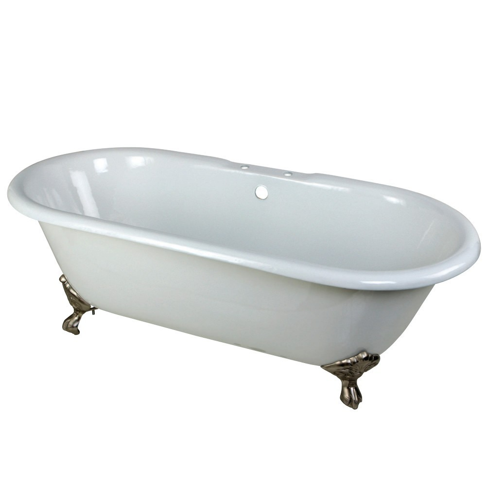 Aqua Eden  66-Inch Cast Iron Double Ended Clawfoot Tub with 7-Inch Faucet Drillings, White/Brushed Nickel