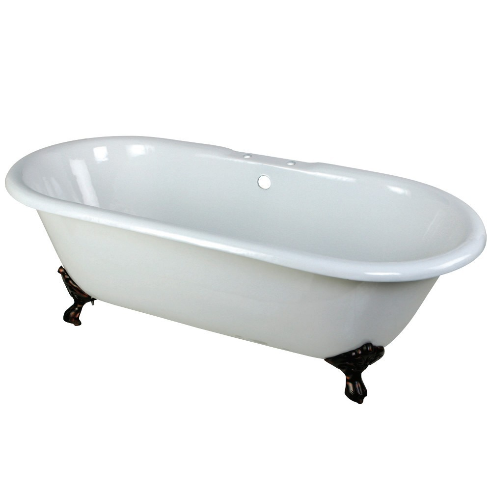Aqua Eden  66-Inch Cast Iron Double Ended Clawfoot Tub with 7-Inch Faucet Drillings, White/Oil Rubbed Bronze