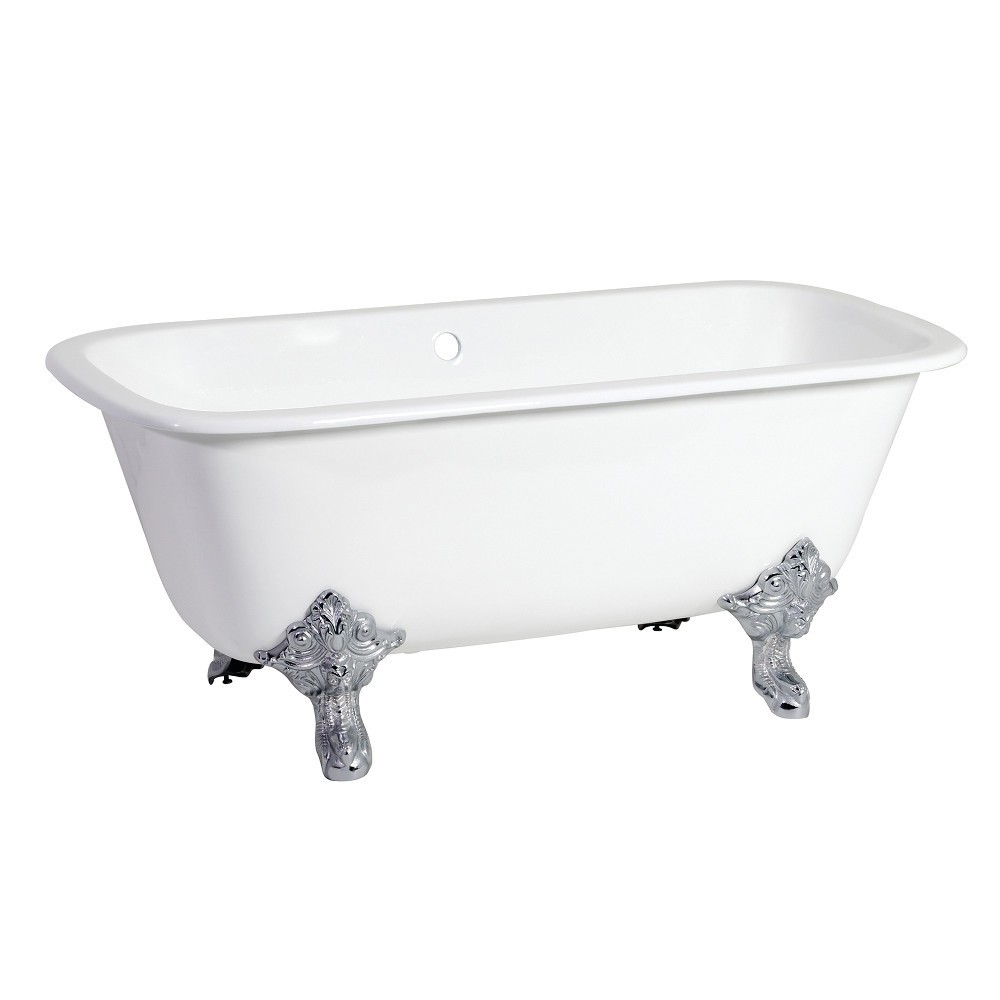 Aqua Eden  67-Inch Cast Iron Double Ended Clawfoot Tub (No Faucet Drillings), White/Polished Chrome