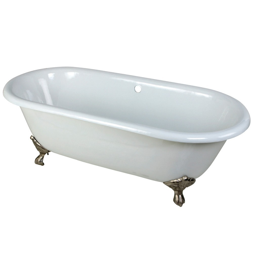 Aqua Eden  66-Inch Cast Iron Double Ended Clawfoot Tub (No Faucet Drillings), White/Brushed Nickel