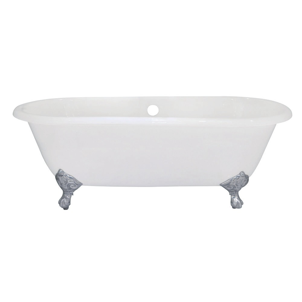 Aqua Eden  66-Inch Cast Iron Double Ended Clawfoot Tub (No Faucet Drillings), White/Polished Chrome