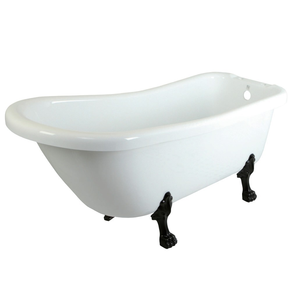 Aqua Eden  67-Inch Acrylic Single Slipper Clawfoot Tub with 7-Inch Faucet Drillings, White/Oil Rubbed Bronze