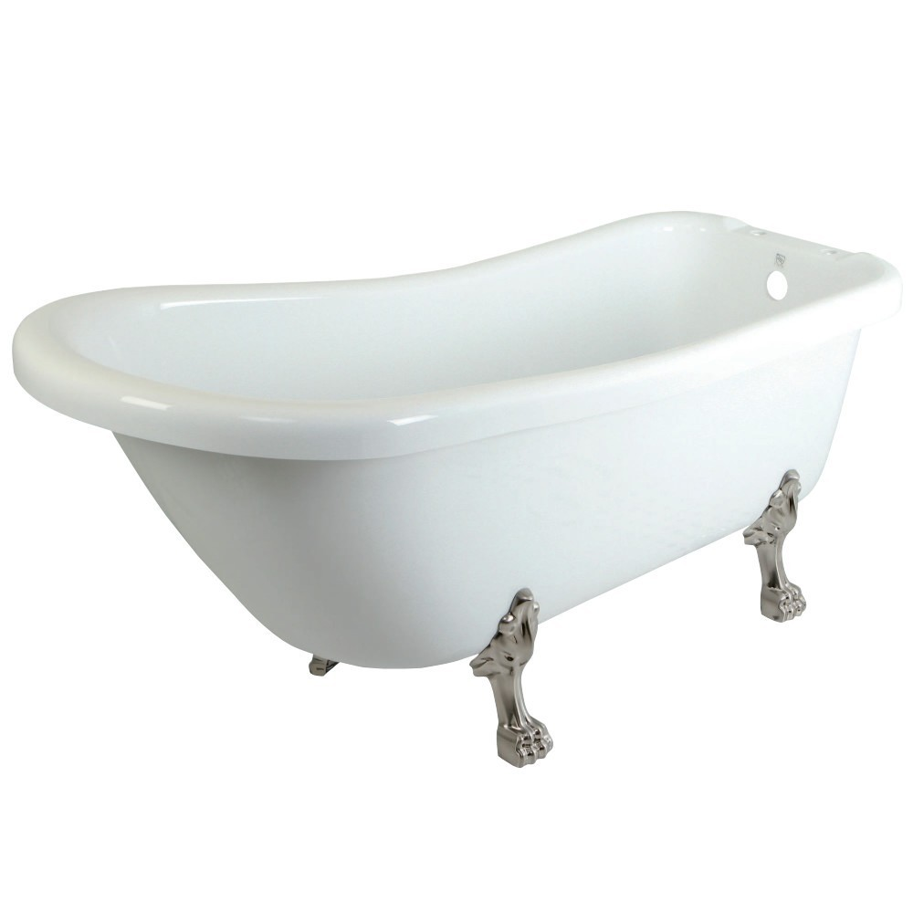 Aqua Eden  67-Inch Acrylic Single Slipper Clawfoot Tub with 7-Inch Faucet Drillings, White/Brushed Nickel