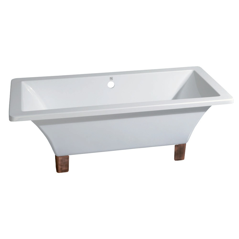 Aqua Eden  67-Inch Acrylic Double Ended Clawfoot Tub (No Faucet Drillings), White/Naples Bronze