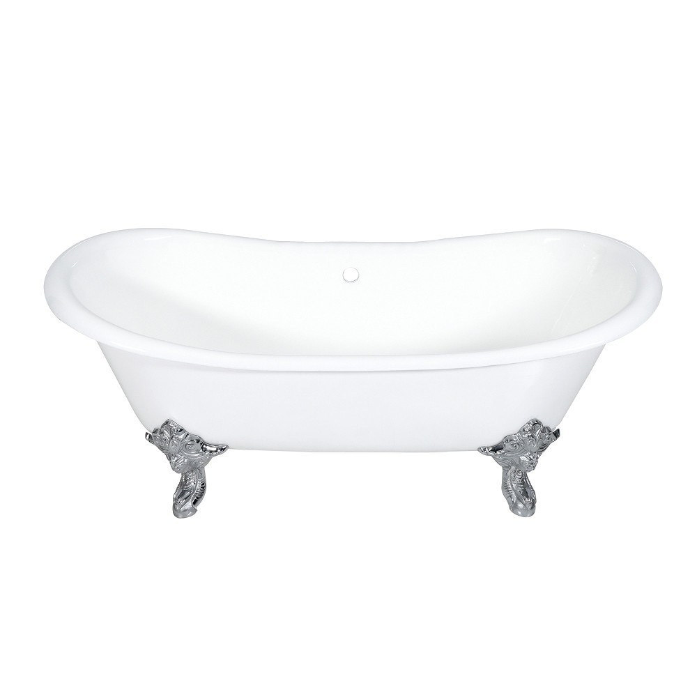 Aqua Eden  72-Inch Cast Iron Double Slipper Clawfoot Tub (No Faucet Drillings), White/Polished Chrome