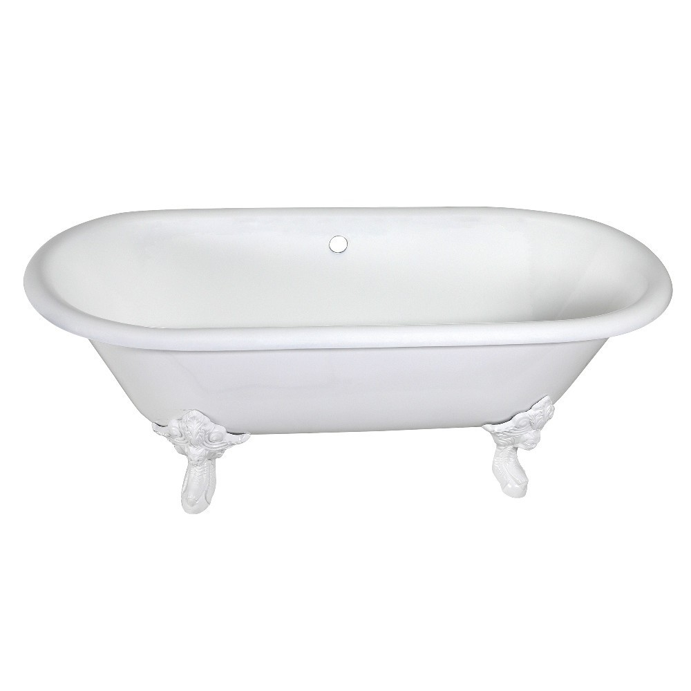 Aqua Eden  72-Inch Cast Iron Double Ended Clawfoot Tub (No Faucet Drillings), White