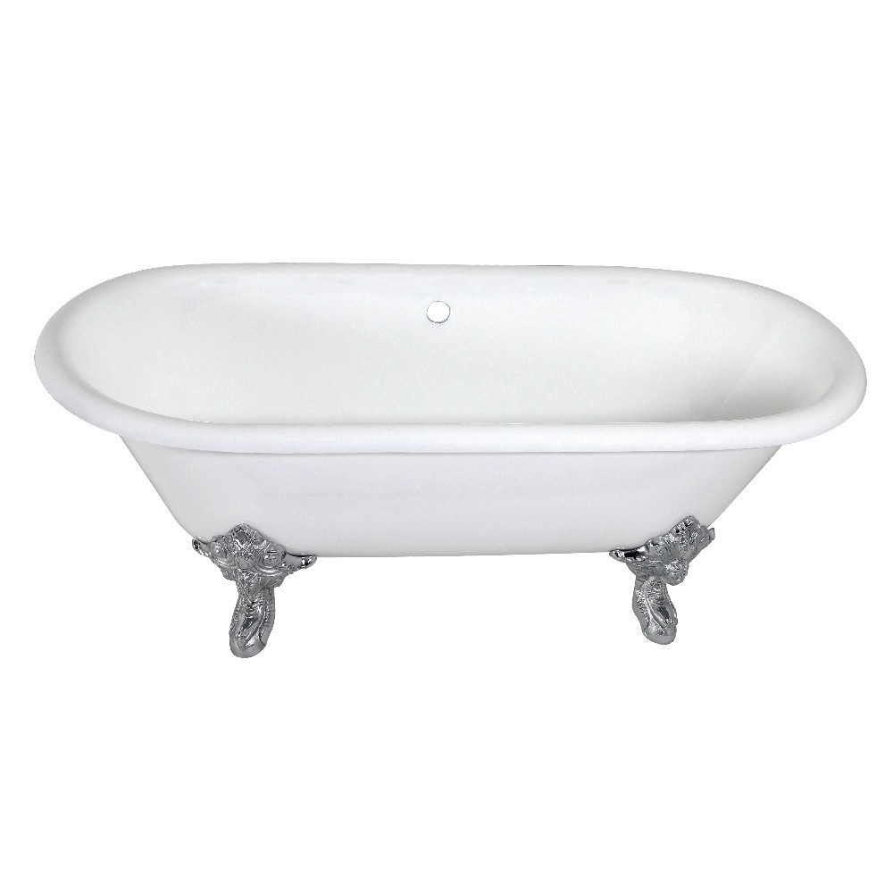 Aqua Eden  72-Inch Cast Iron Double Ended Clawfoot Tub (No Faucet Drillings), White/Polished Chrome