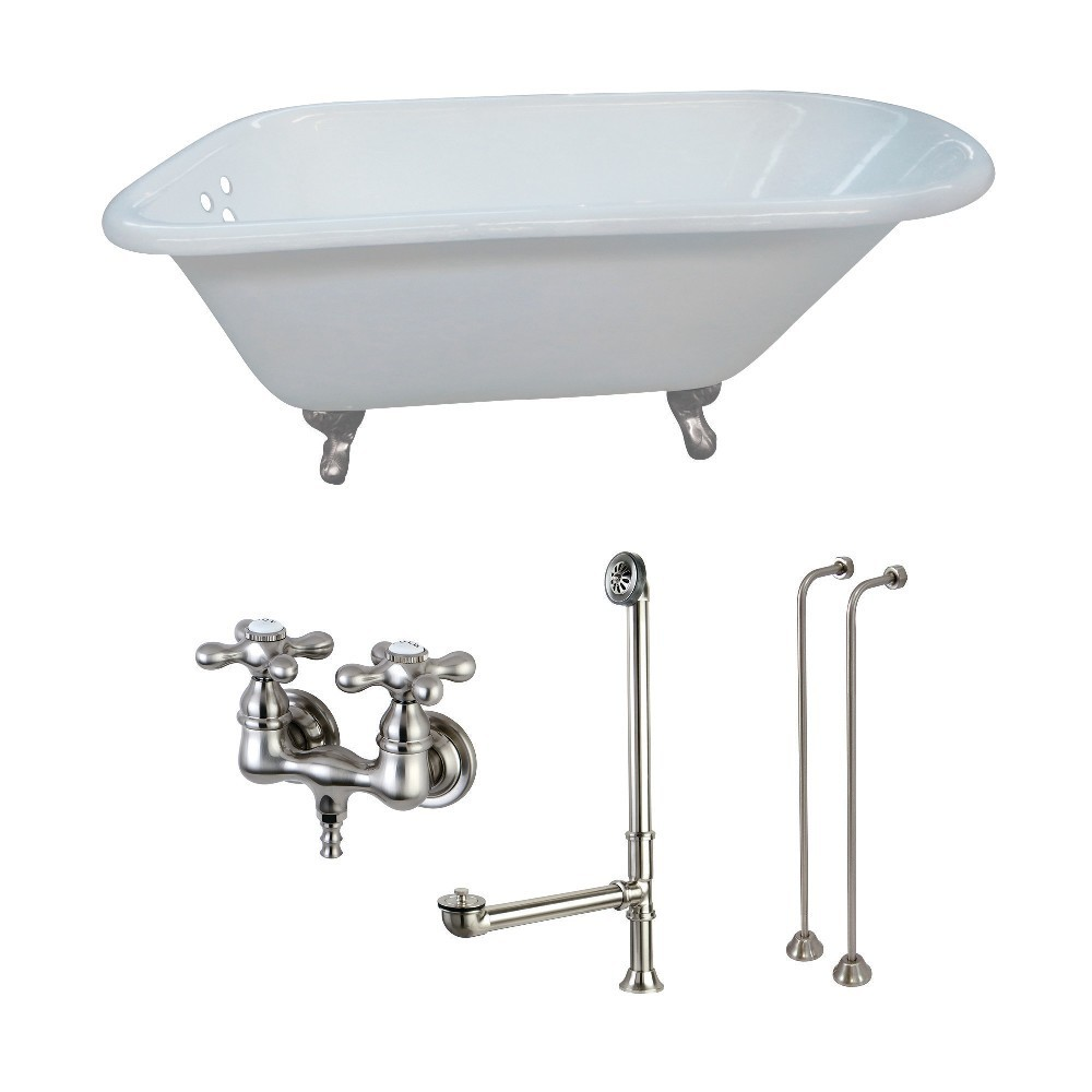 Aqua Eden  54-Inch Cast Iron Roll Top Clawfoot Tub Combo with Faucet and Supply Lines, White/Brushed Nickel