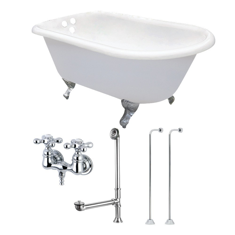 Aqua Eden  54-Inch Cast Iron Roll Top Clawfoot Tub Combo with Faucet and Supply Lines, White/Polished Chrome