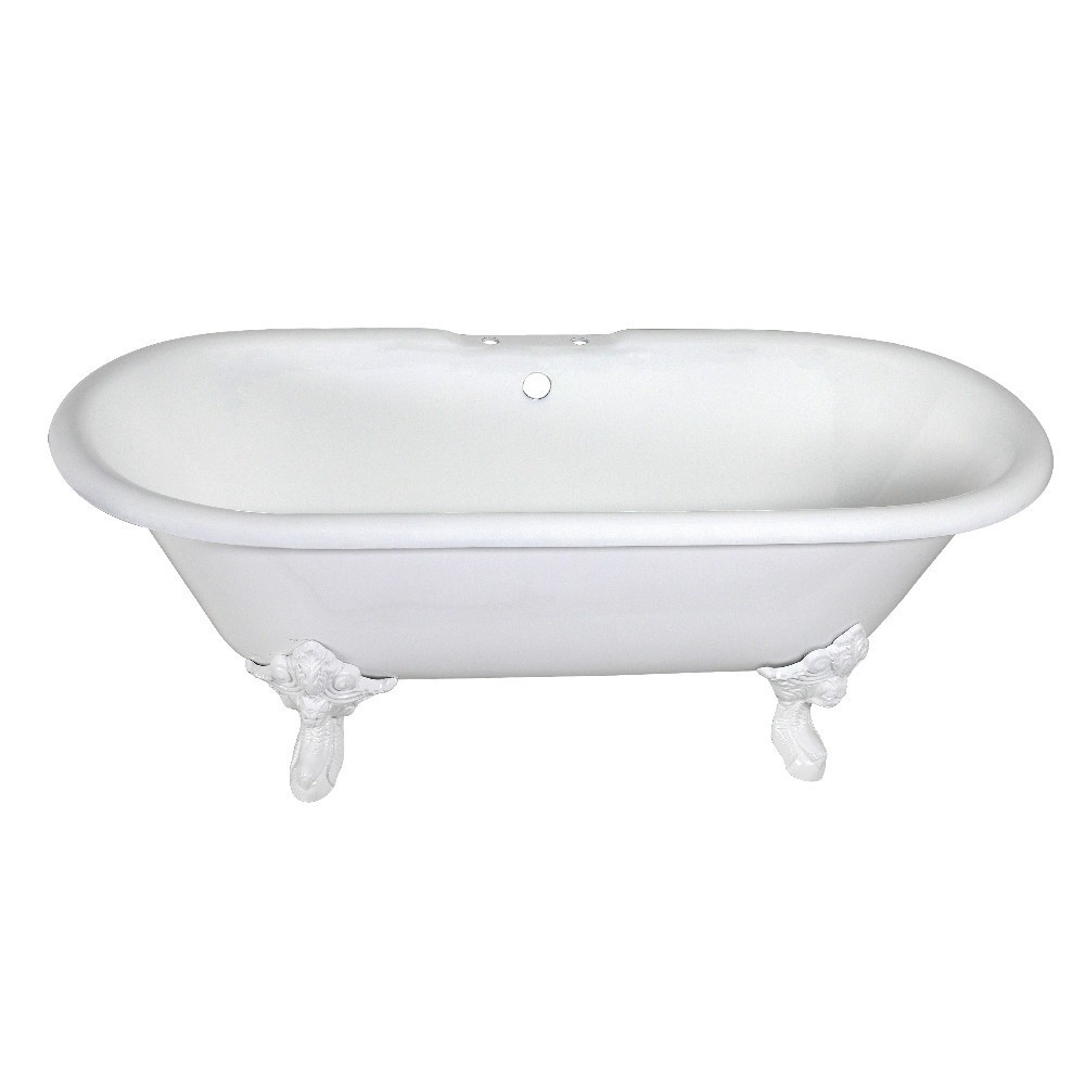 Aqua Eden  72-Inch Cast Iron Double Ended Clawfoot Tub with 7-Inch Faucet Drillings, White