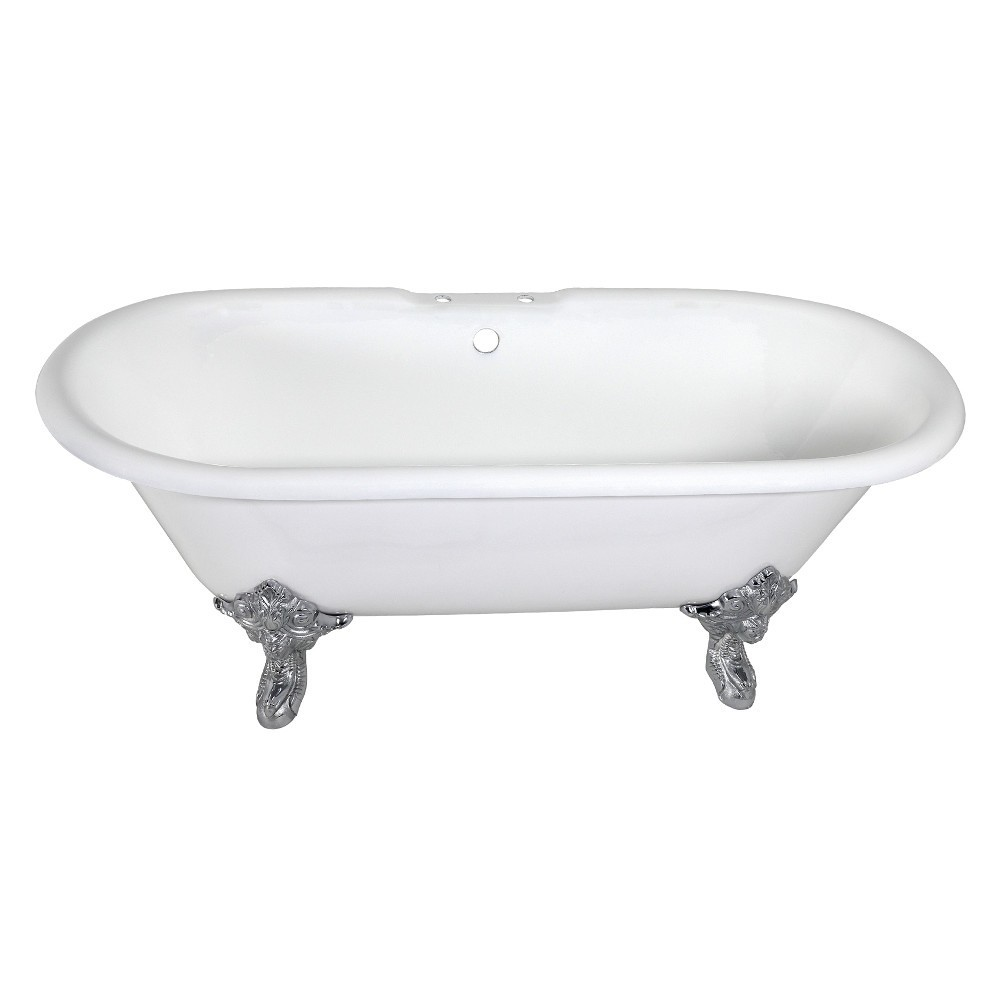 Aqua Eden  72-Inch Cast Iron Double Ended Clawfoot Tub with 7-Inch Faucet Drillings, White/Polished Chrome