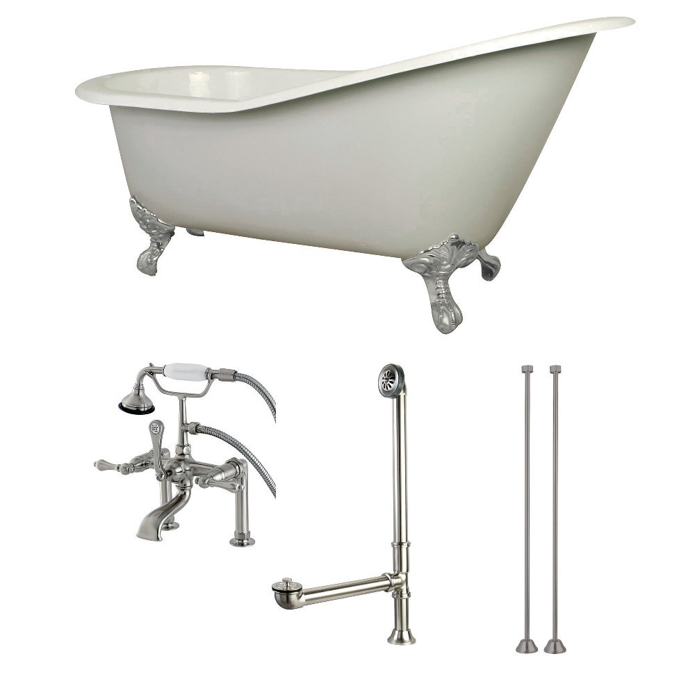 Aqua Eden  62-Inch Cast Iron Single Slipper Clawfoot Tub Combo with Faucet and Supply Lines, White/Brushed Nickel