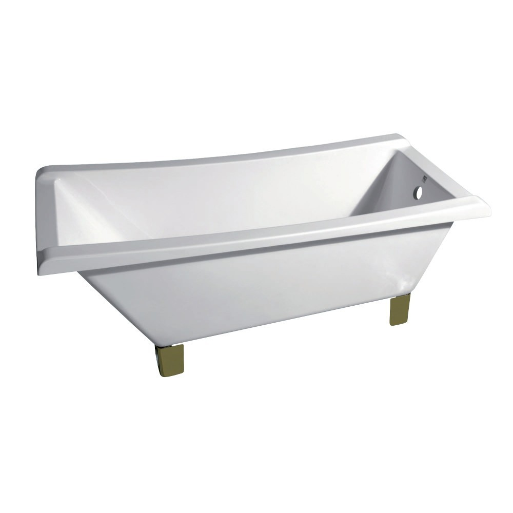 Aqua Eden  67-Inch Acrylic Single Slipper Clawfoot Tub (No Faucet Drillings), White/Polished Brass