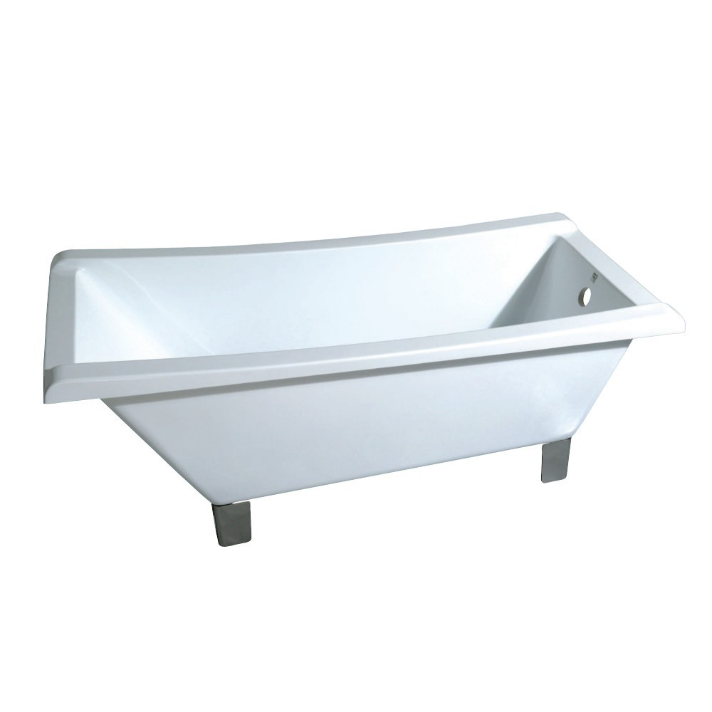 Aqua Eden  67-Inch Acrylic Single Slipper Clawfoot Tub (No Faucet Drillings), White/Brushed Nickel