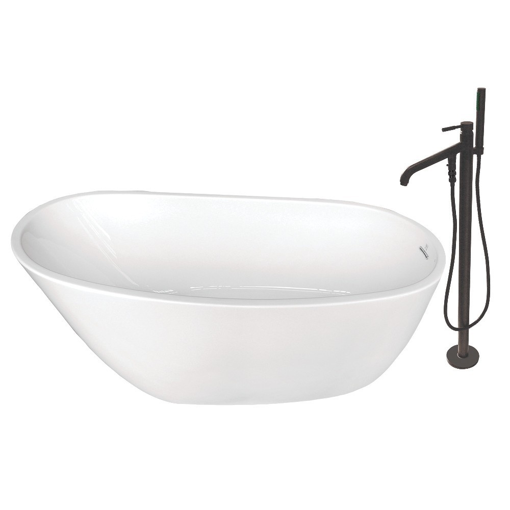Aqua Eden  59-Inch Acrylic Single Slipper Freestanding Tub Combo with Faucet and Drain, White/Oil Rubbed Bronze