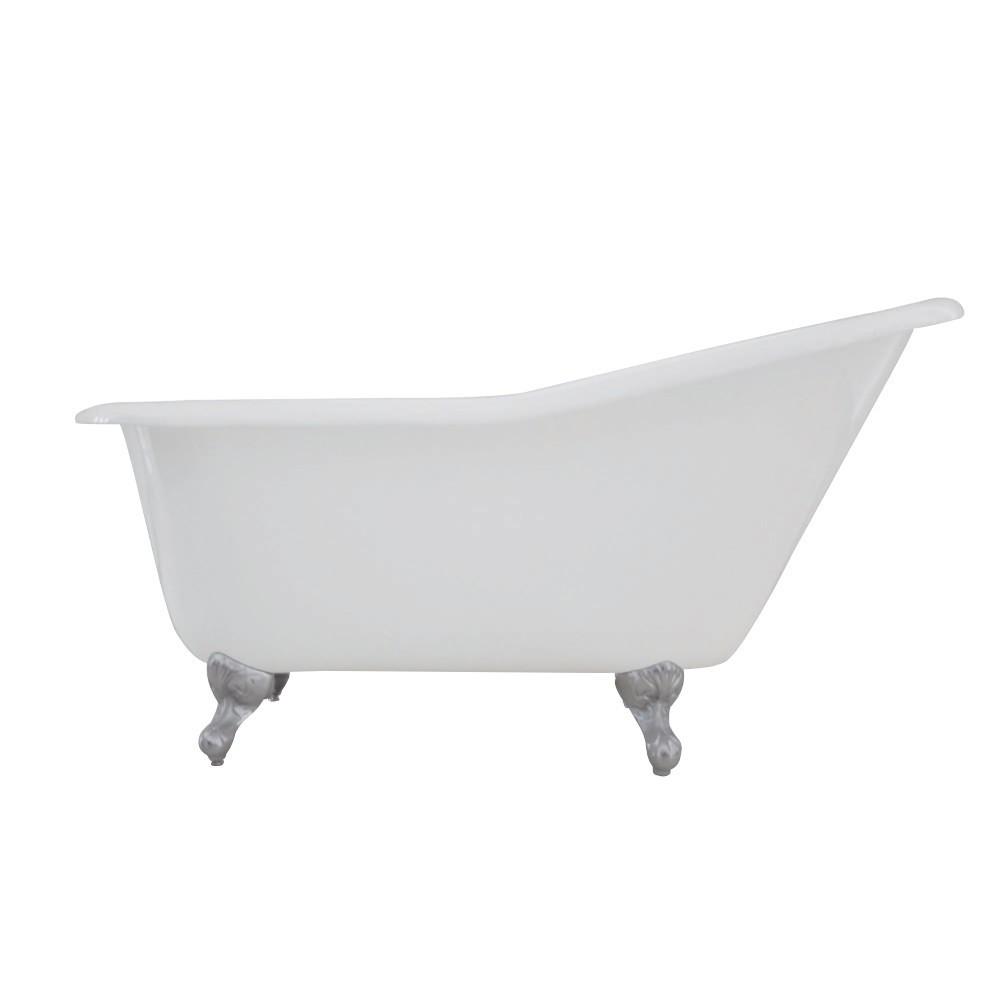Aqua Eden  60-Inch Cast Iron Single Slipper Clawfoot Tub (No Faucet Drillings), White/Polished Chrome