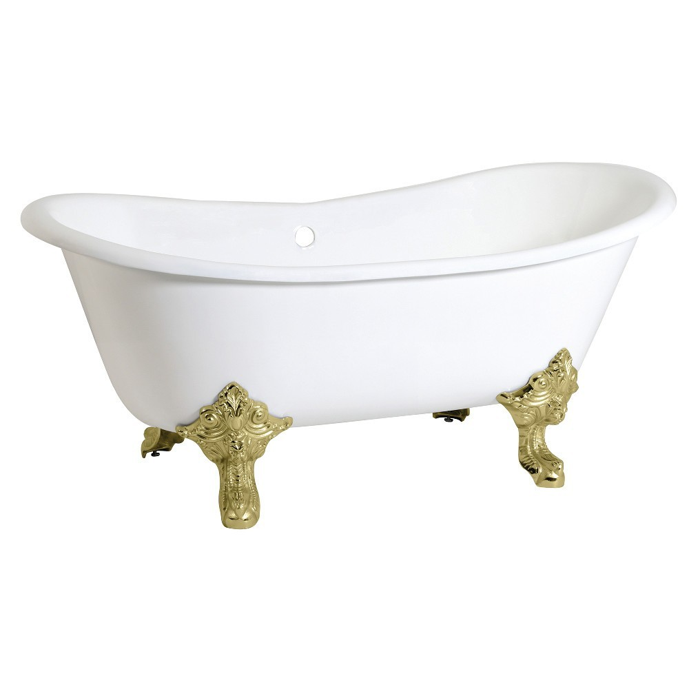 Aqua Eden  67-Inch Cast Iron Double Slipper Clawfoot Tub (No Faucet Drillings), White/Polished Brass