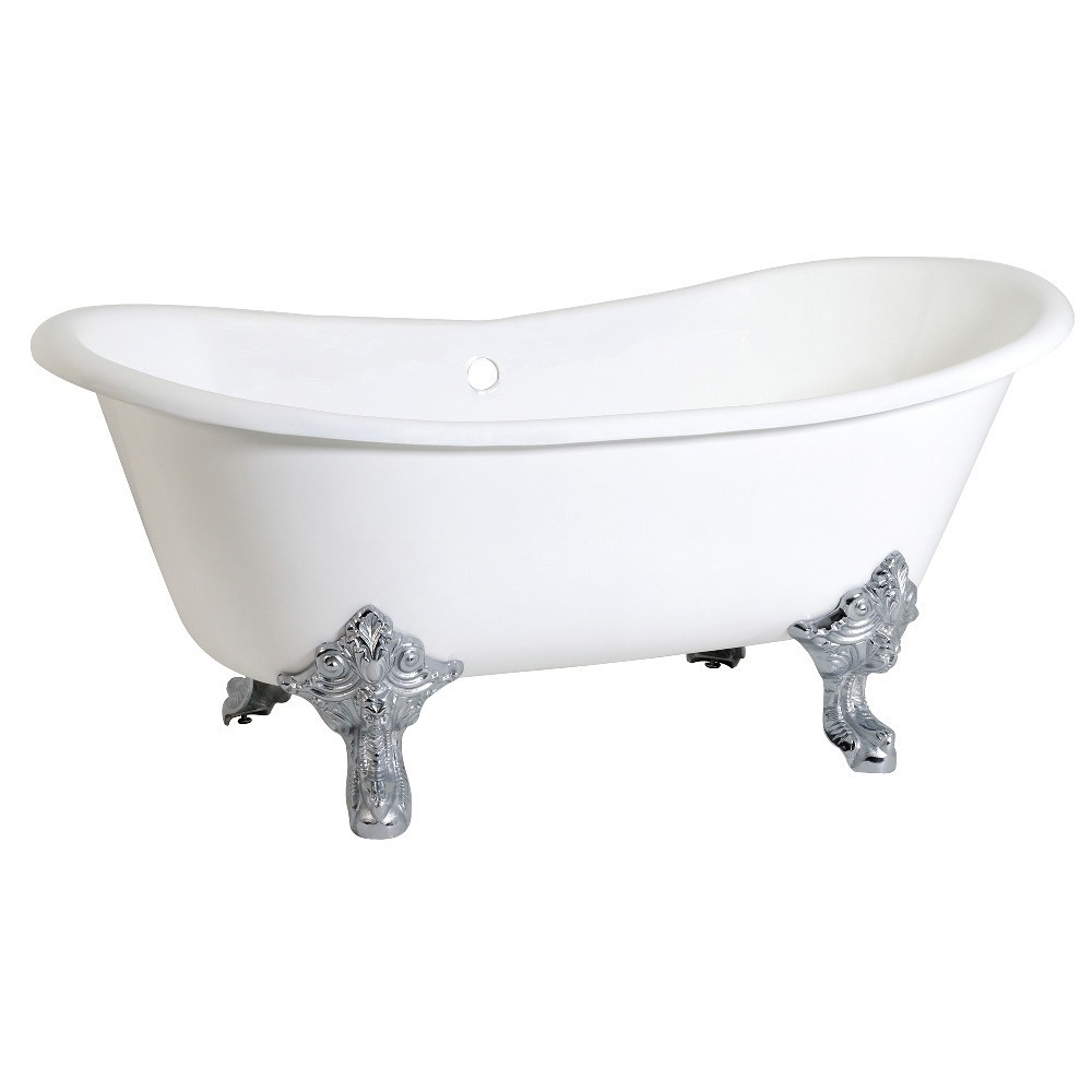 Aqua Eden  67-Inch Cast Iron Double Slipper Clawfoot Tub (No Faucet Drillings), White/Polished Chrome