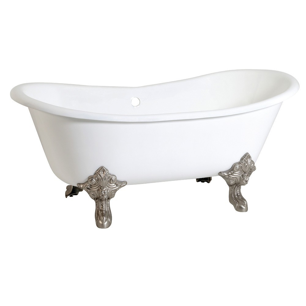 Aqua Eden  67-Inch Cast Iron Double Slipper Clawfoot Tub (No Faucet Drillings), White/Brushed Nickel