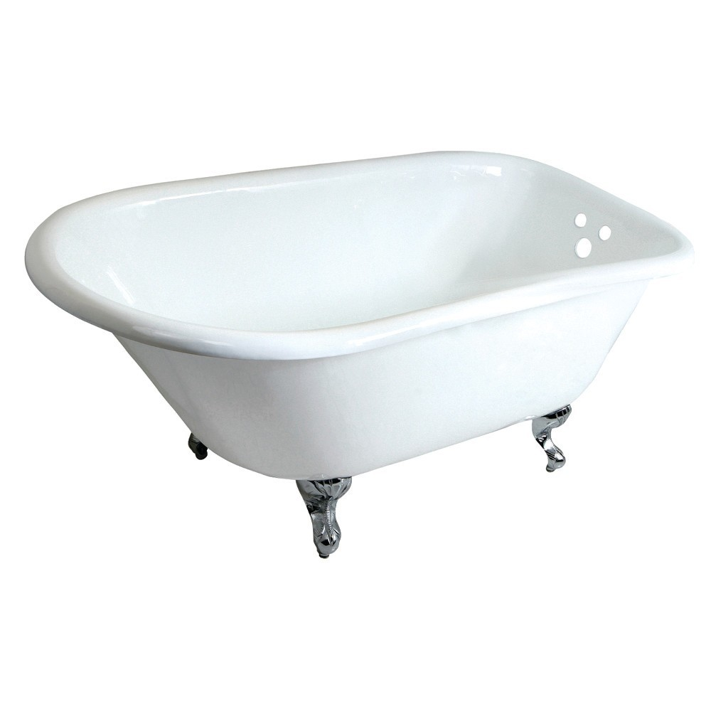 Aqua Eden  48-Inch Cast Iron Roll Top Clawfoot Tub with 3-3/8 Inch Wall Drillings, White/Polished Chrome