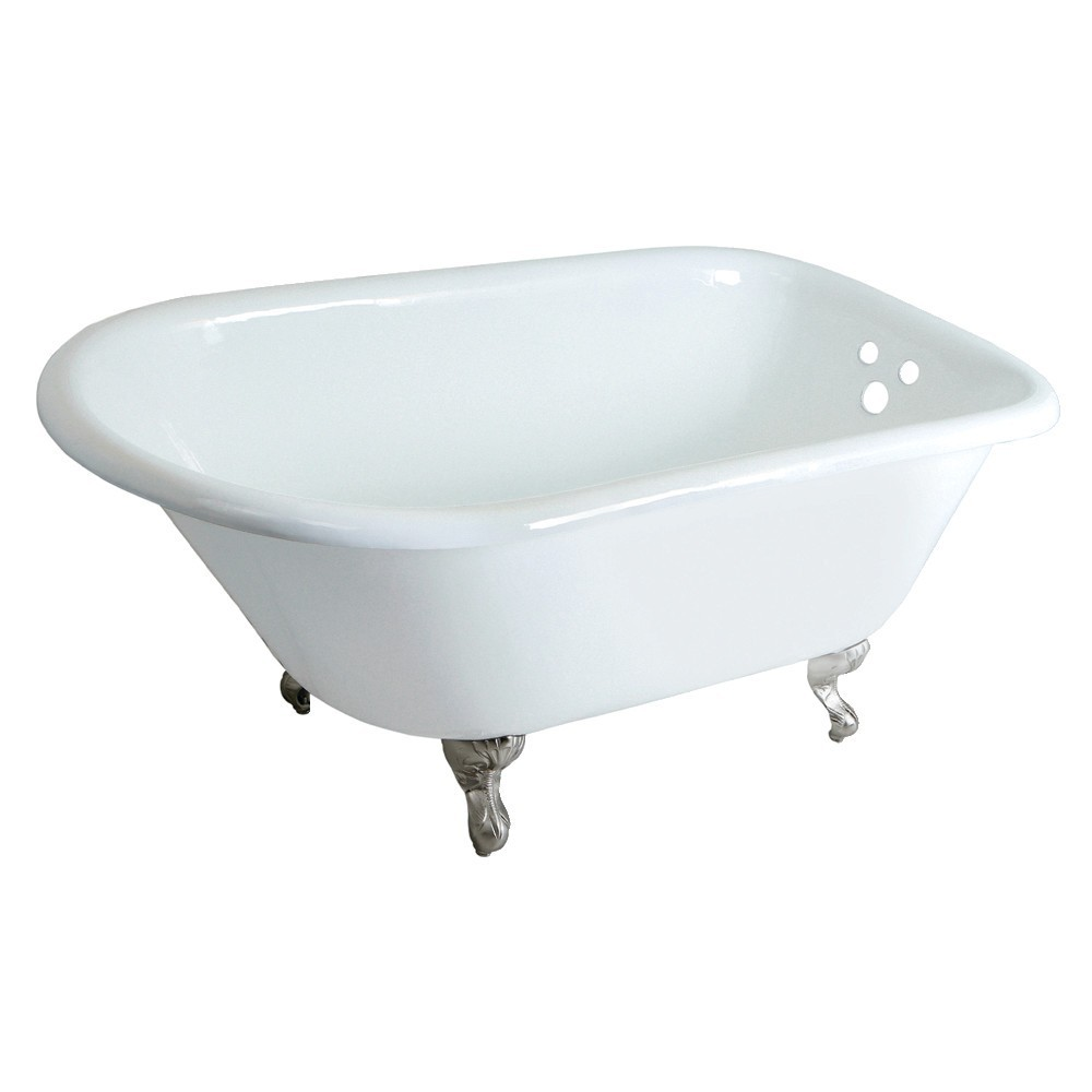Aqua Eden  48-Inch Cast Iron Roll Top Clawfoot Tub with 3-3/8 Inch Wall Drillings, White/Brushed Nickel
