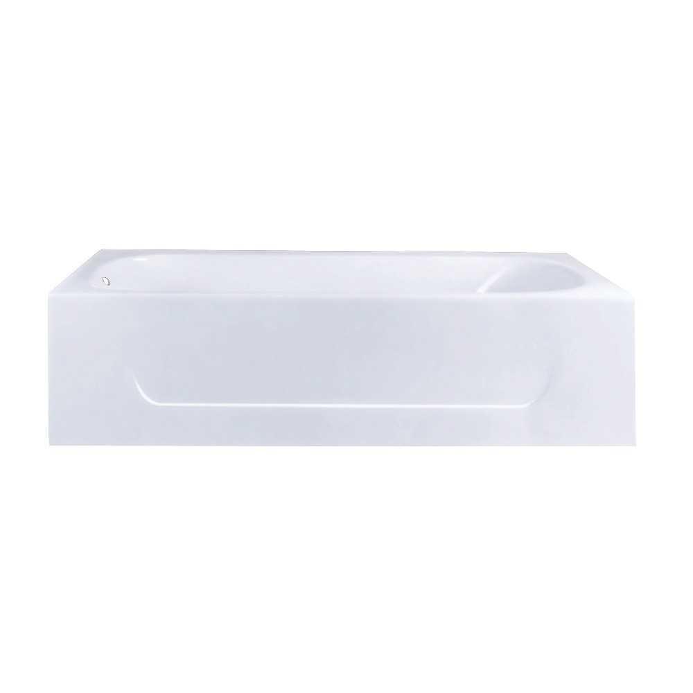 Aqua Eden  60-Inch Cast Iron Alcove Tub with Left Hand Drain Hole, White