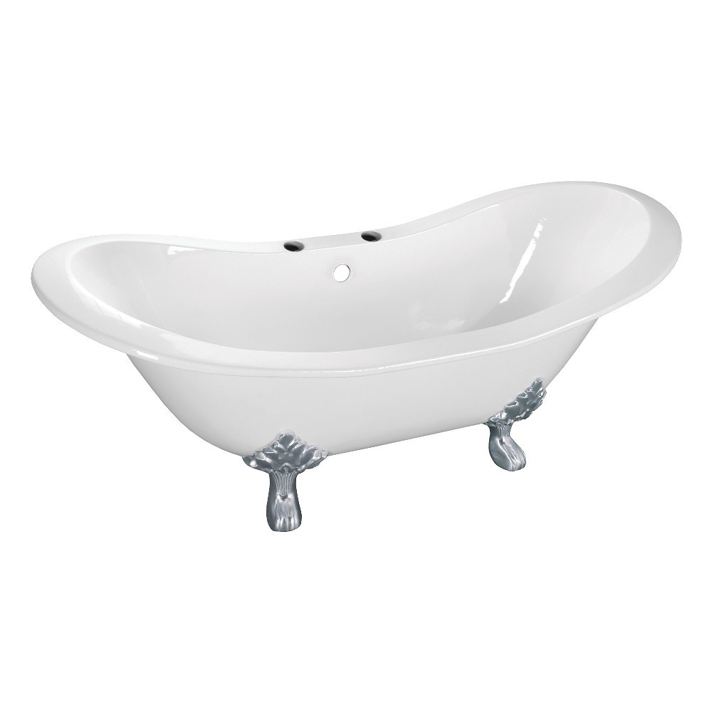 Aqua Eden  61-Inch Cast Iron Double Slipper Clawfoot Tub with 7-Inch Faucet Drillings, White/Polished Chrome