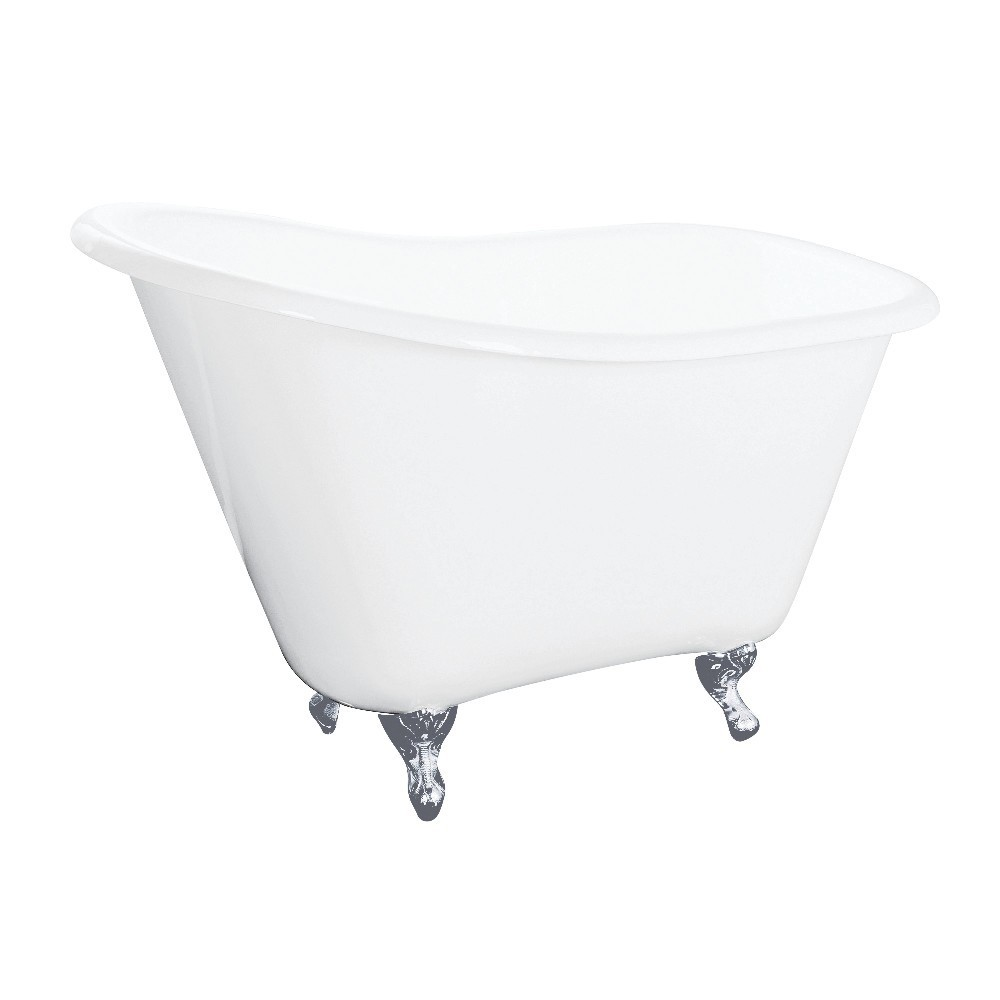 Aqua Eden  51-Inch Cast Iron Slipper Clawfoot Tub without Faucet Drillings, White/Polished Chrome