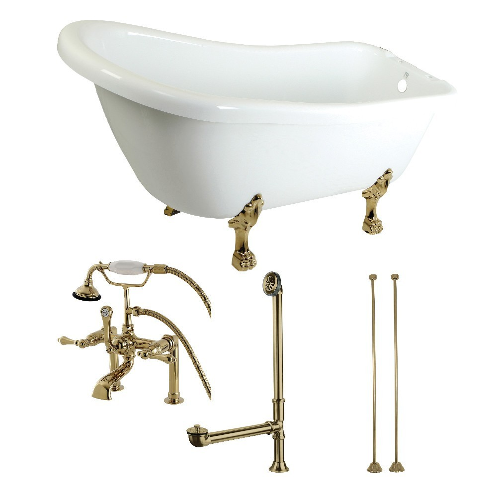 Aqua Eden  67-Inch Acrylic Single Slipper Clawfoot Tub Combo with Faucet and Supply Lines, White/Polished Brass