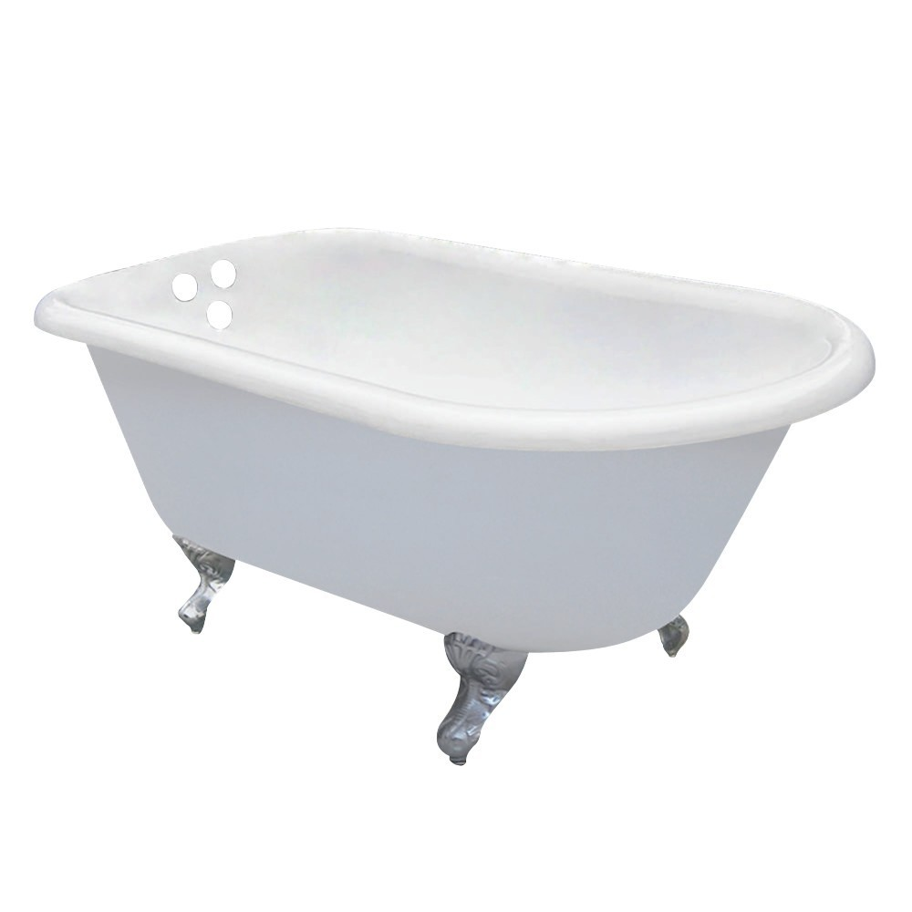 Aqua Eden  60-Inch Cast Iron Roll Top Clawfoot Tub with 3-3/8 Inch Wall Drillings, White/Polished Chrome