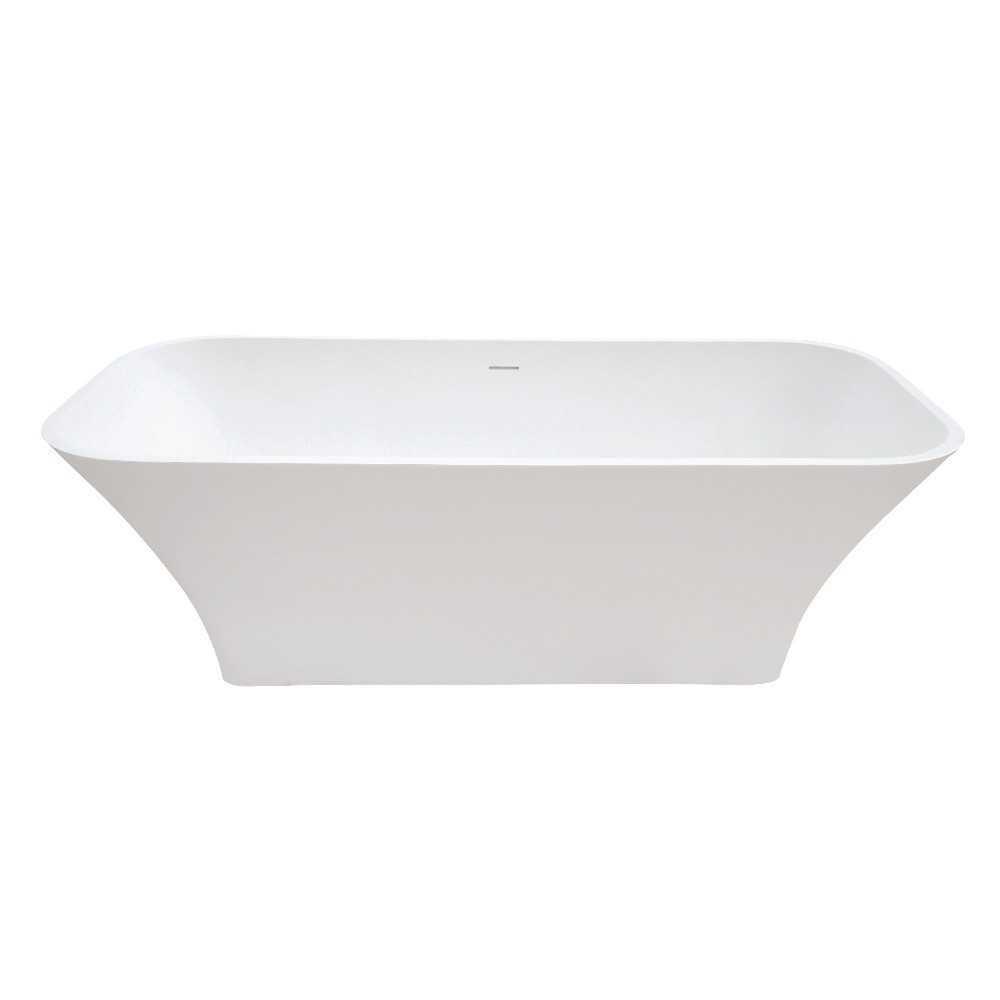 Aqua Eden  Arcticstone 68-Inch Solid Surface White Stone Freestanding Tub with Drain, Matte White
