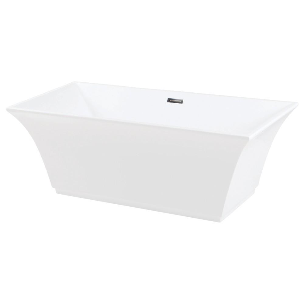 Aqua Eden  67-Inch Acrylic Freestanding Tub with Drain, White