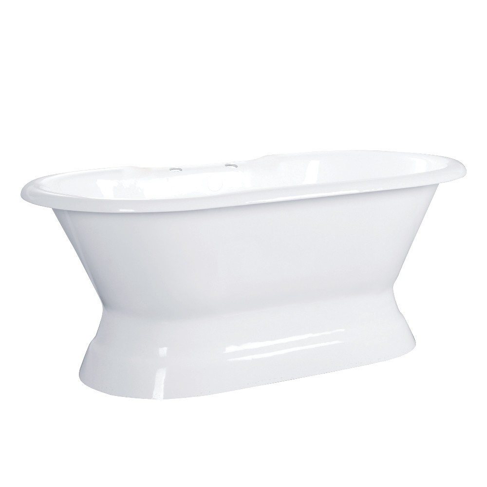 Aqua Eden  66-Inch Cast Iron Double Ended Pedestal Tub with 7-Inch Faucet Drillings, White