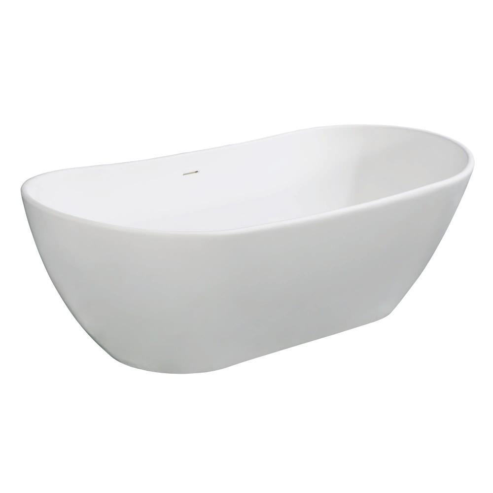 Aqua Eden  Arcticstone 72-Inch Solid Surface White Stone Freestanding Tub with Drain, Matte White