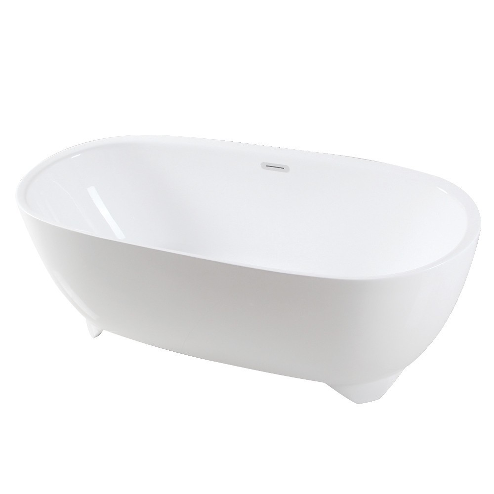 Aqua Eden  67-Inch Acrylic Double Ended Freestanding Tub with Drain, White