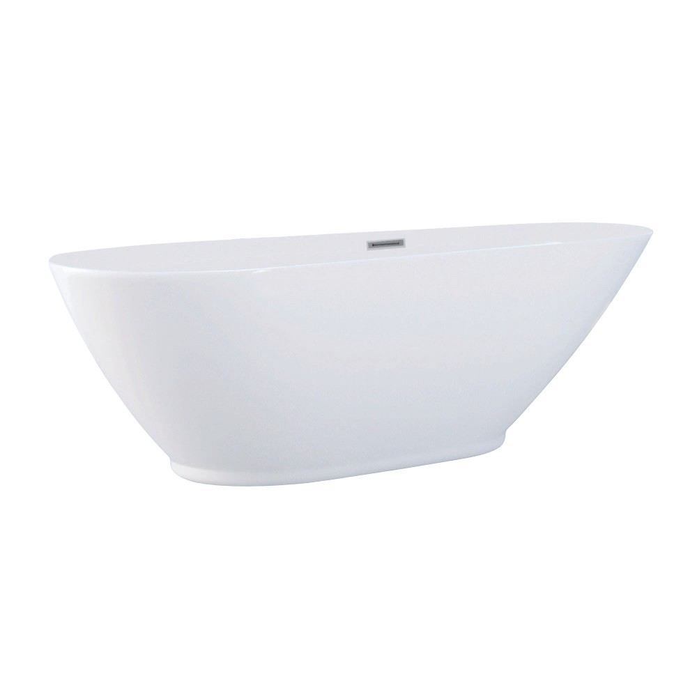 Aqua Eden  69-Inch Acrylic Double Ended Freestanding Tub with Drain, White