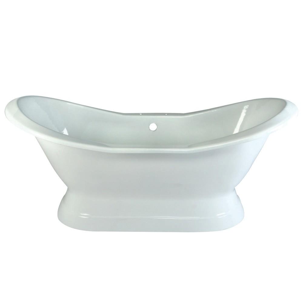 Aqua Eden  72-Inch Cast Iron Double Slipper Pedestal Tub with 7-Inch Faucet Drillings, White