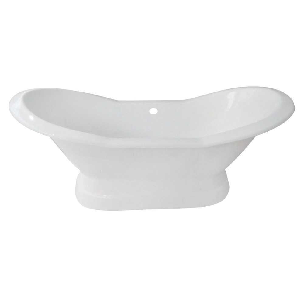 Aqua Eden  72-Inch Cast Iron Double Slipper Pedestal Tub (No Faucet Drillings), White
