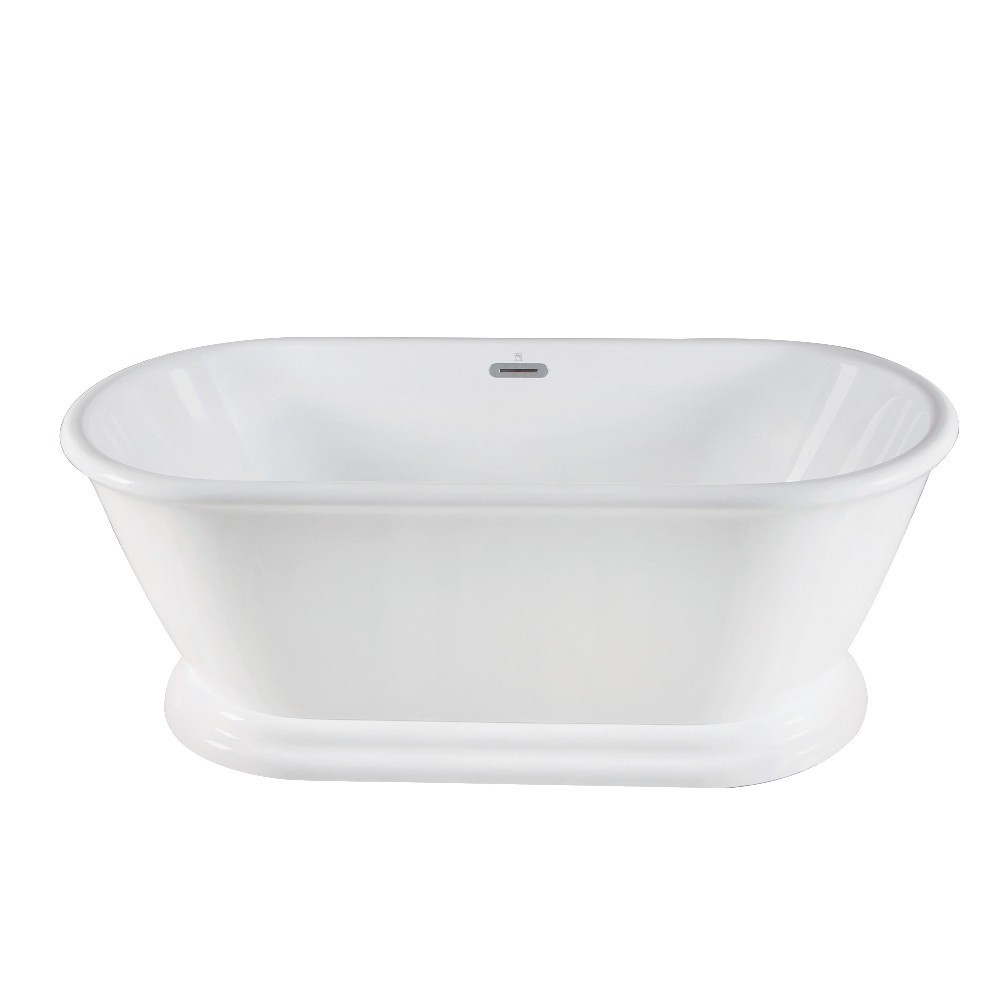 Aqua Eden  66-Inch Acrylic Double Ended Pedestal Tub with Square Overflow and Pop-Up Drain, White
