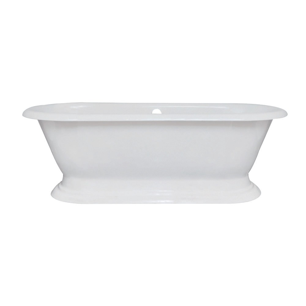 Aqua Eden  72-Inch Cast Iron Double Ended Pedestal Tub (No Faucet Drillings), White