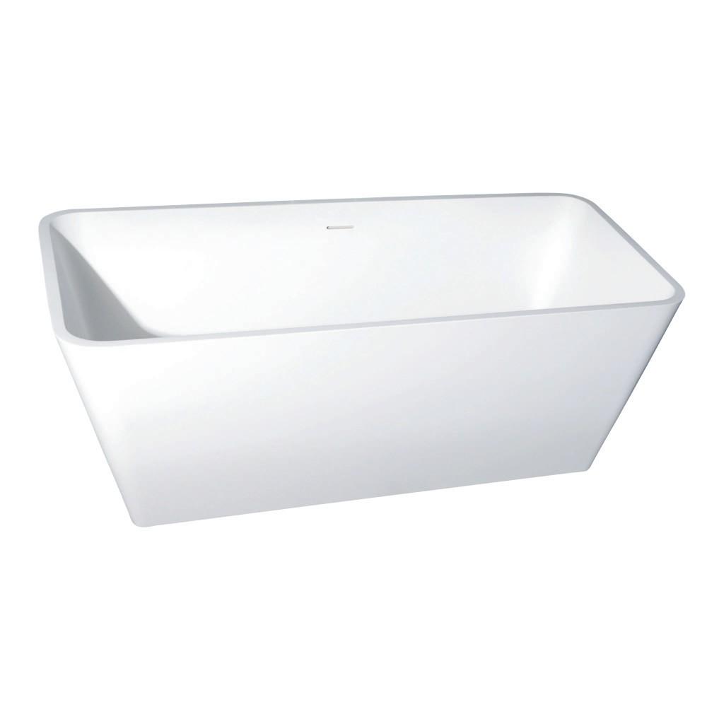 Aqua Eden  Arcticstone 59-Inch Solid Surface White Stone Freestanding Tub with Drain, Matte White