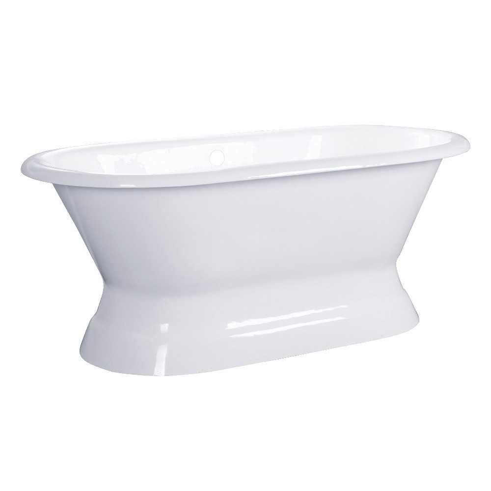 Aqua Eden  60-Inch Cast Iron Double Ended Pedestal Tub (No Faucet Drillings), White