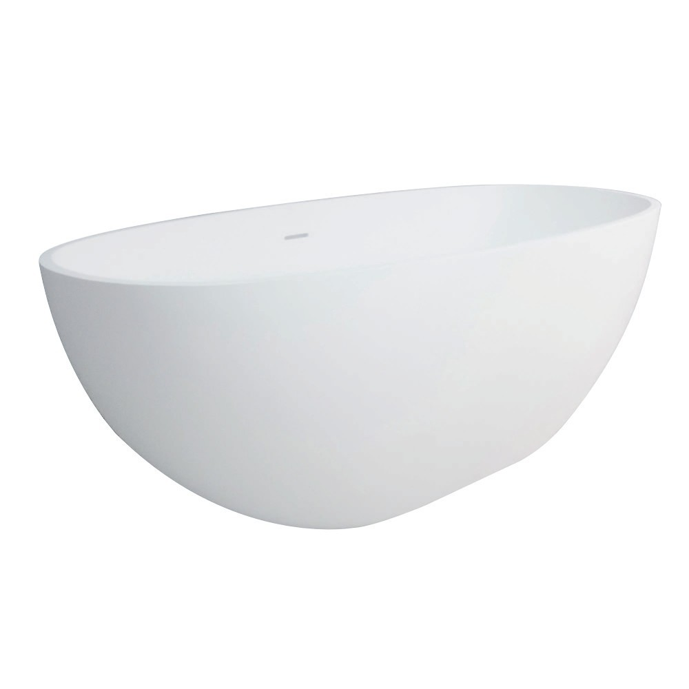 Aqua Eden  Arcticstone 65-Inch Solid Surface White Stone Freestanding Tub with Drain, Matte White