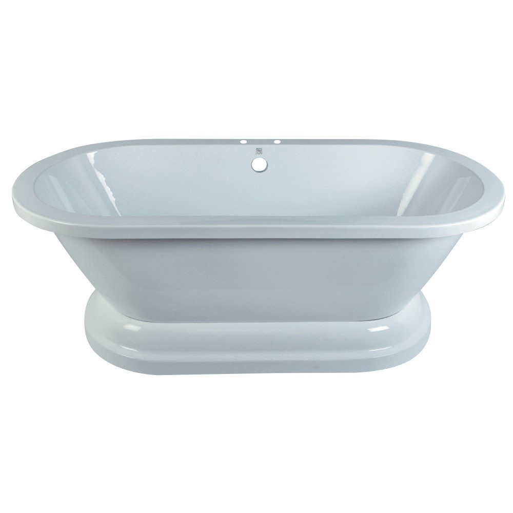 Aqua Eden  67-Inch Acrylic Double Ended Pedestal Tub with 7-Inch Faucet Drillings, White