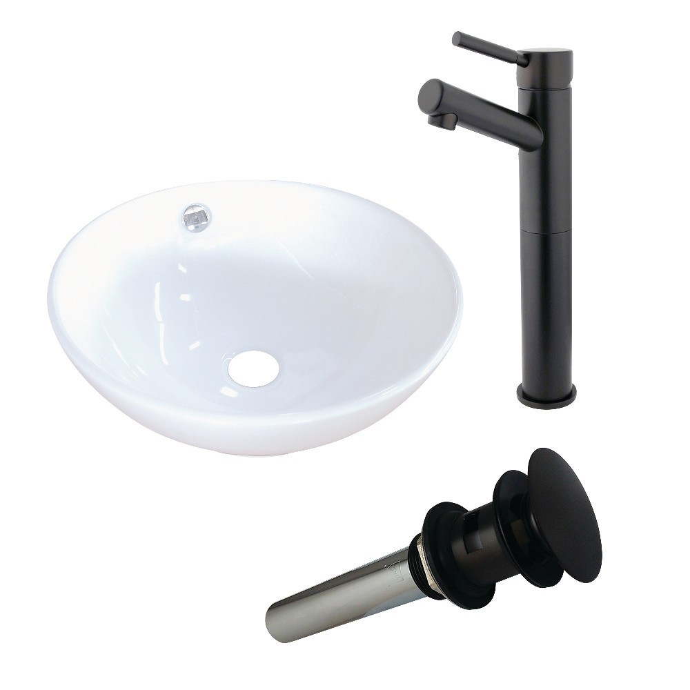 Kingston Brass  Vitreous China Basin With Sink Faucet and Drain Combo, White/Oil Rubbed Bronze