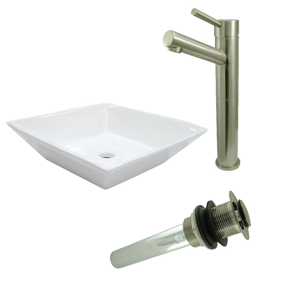 Kingston Brass  Vessel Sink With Concord Sink Faucet and Drain Combo, White/Brushed Nickel