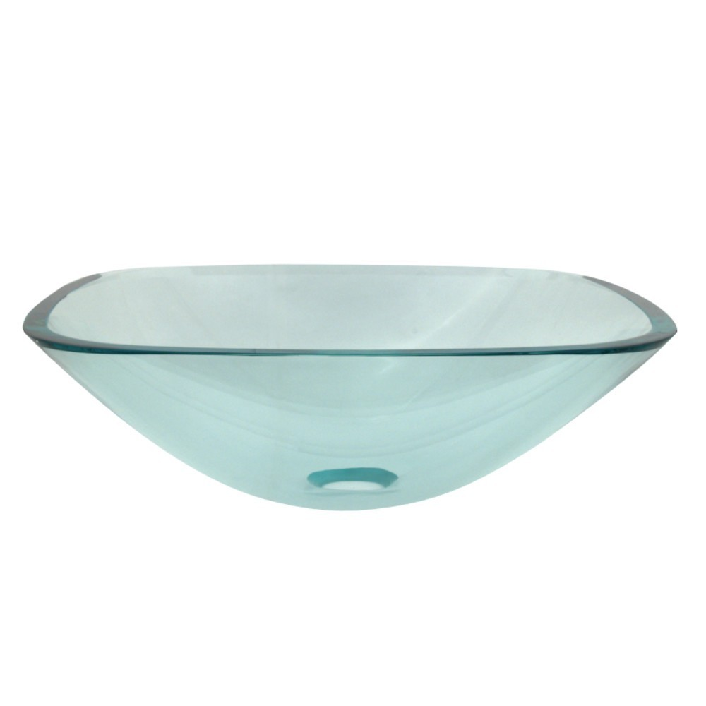 """Fauceture  1/2"""" Round Tempered Glass Vessel Sink, Clear"""