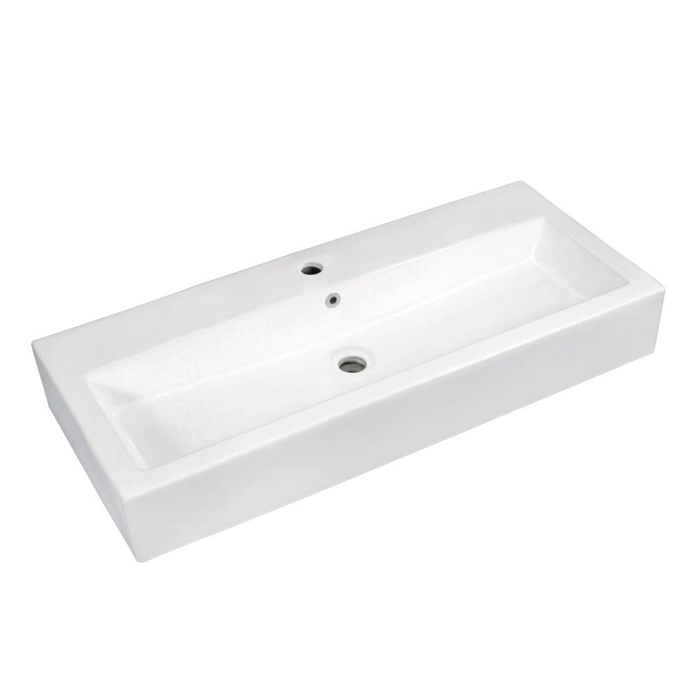 """Fauceture  Elongated 39"""" x 17"""" Rectangular Vessel Sink, White"""