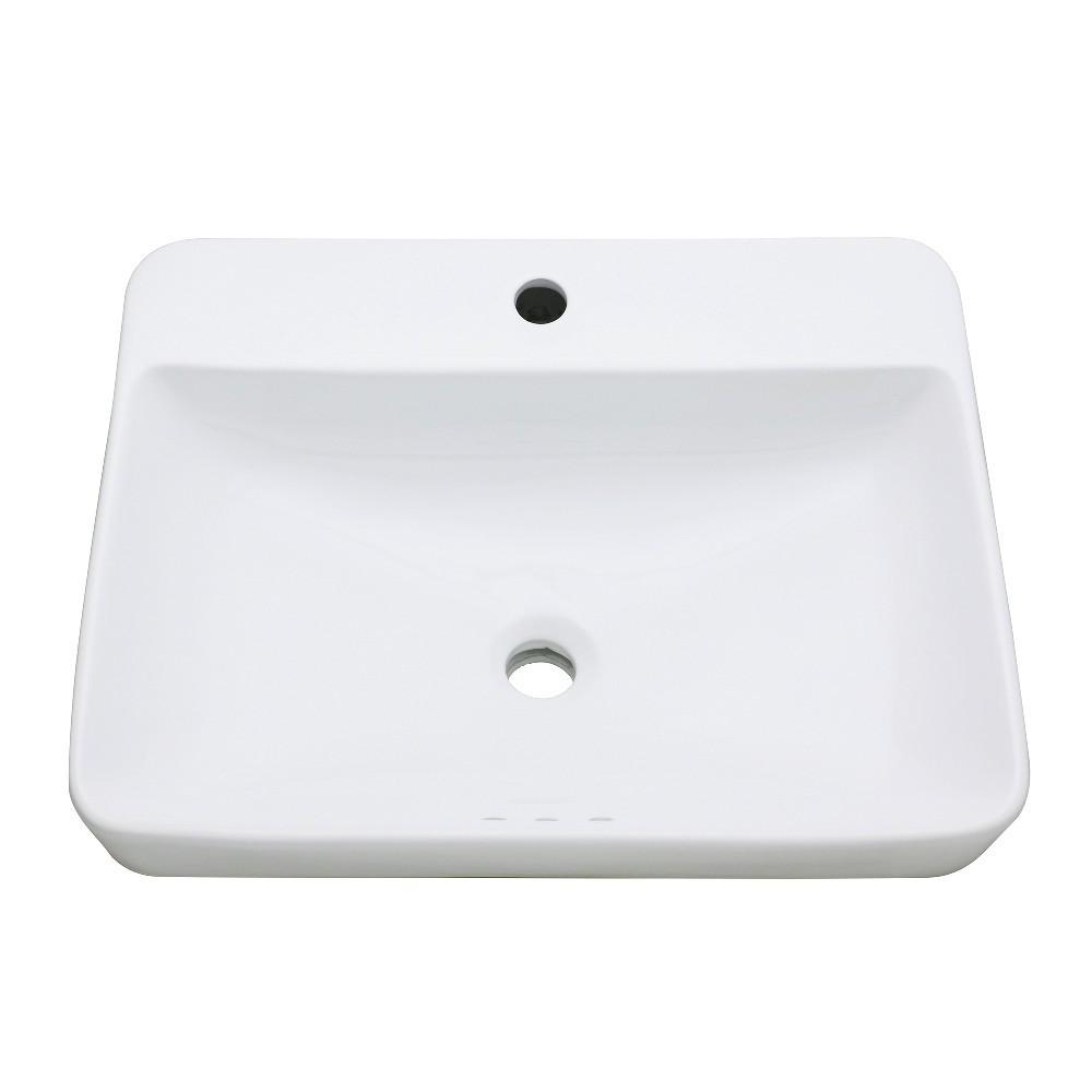 Fauceture  Century 23-Inch Rectangular Ceramic Drop-In Bathroom Sink, White
